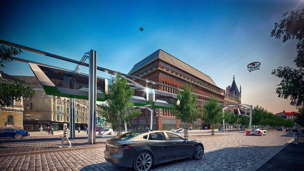 Suomen johtavan virtuaalitodellisuustalo Zoanin näkemys Helsingistä vuonna 2030.