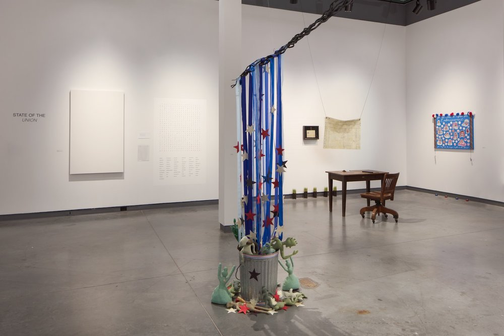 State of the union, from left to right, two wall pieces by Jenna Lucente, a sculpture by Karoline Wileczek, an installation by Jennifer Borders and a wall piece Karoline Wileczek.