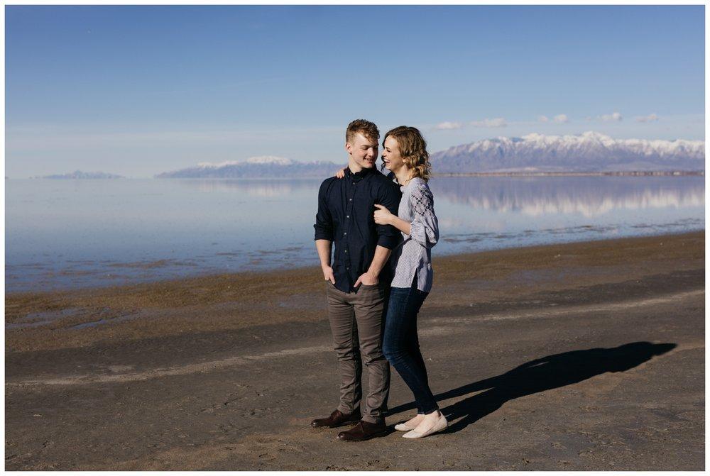 Antelope Island Utah Engagement Portraits