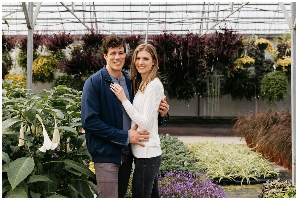 Cooks Greenhouse engagement portraits