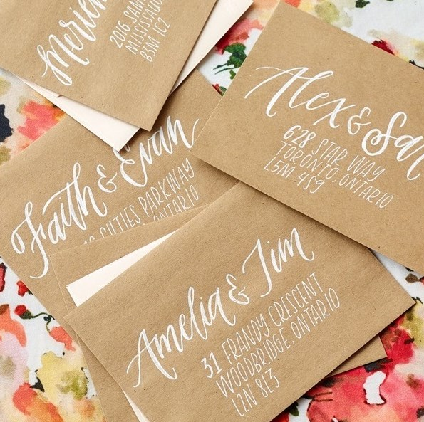 The beautiful art of hand lettering adds such whimsy and elegance to stationery design.  Seen here, romantic calligraphy meets modern type to create a romantic and pretty envelope design.  Styling by Megan Wappel Designs.  Stationery by Sarah Kim Lettering & Design.  Photo by Carlo Mendoza.