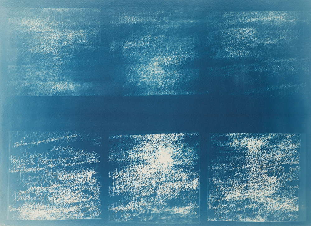 "Disintegration of the Idea   Cyanotype on Paper  22"" x 30"""