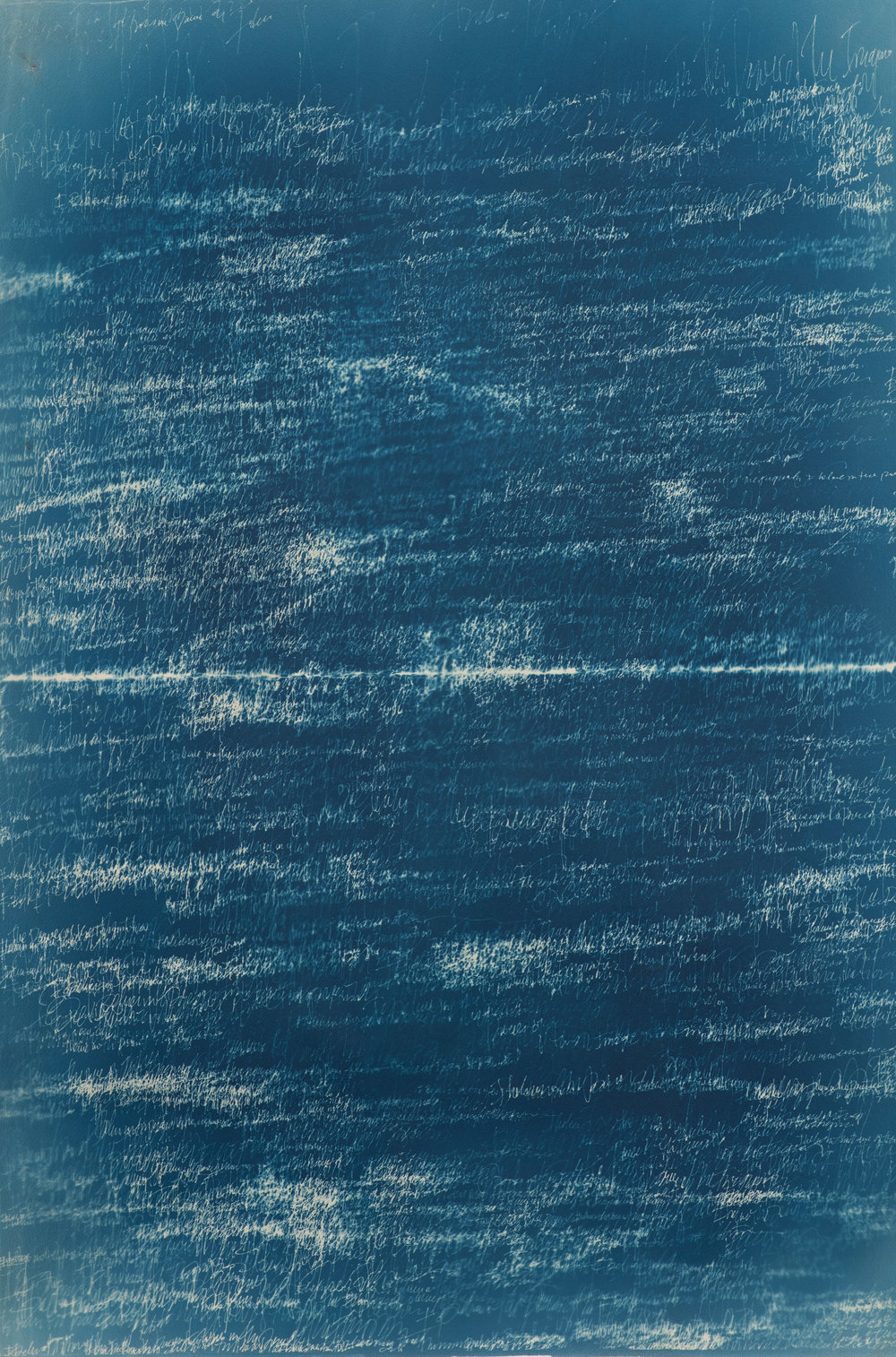 "Disintigration of the Dividing Line   Cyanotype on Paper  30"" x 48"""