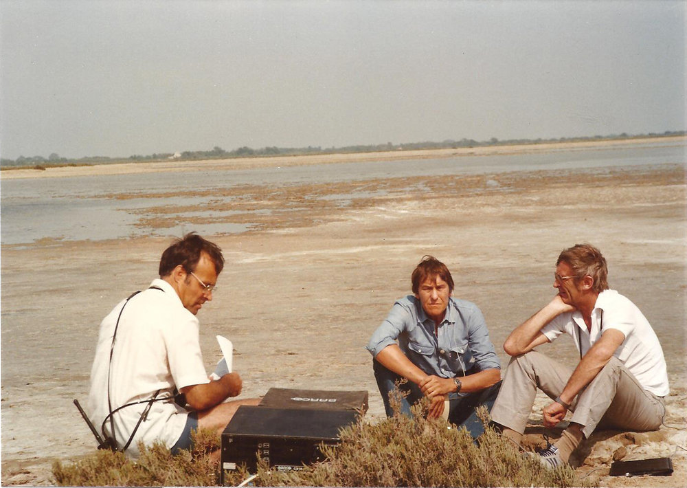 Robin Prytherch, TS and Roger Lovegrove in the Camargue, trying to do a live commentary with an unreadable monitor