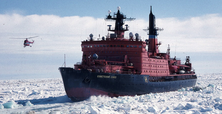 Icebreaker  Sovetsky Soyuz  plugging north to the pole