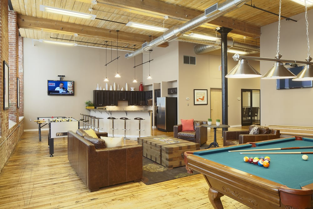 Amenities Gaming Room With Pool Table and Kitchen for Parties Lawrence Apartments to Rent