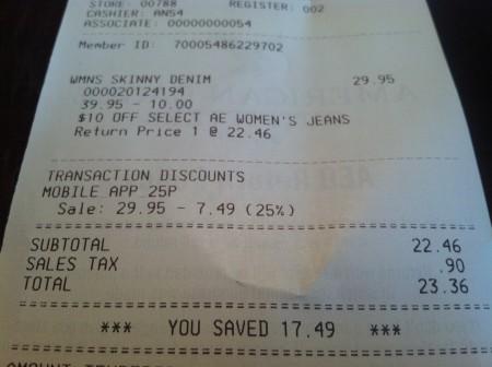 American Eagle receipt