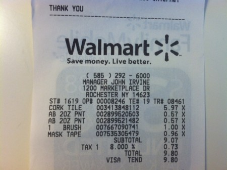 cork board project receipt