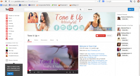 Tone It Up YouTube