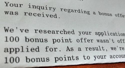 cash rewards denial