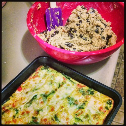 breakfast casserole and cookies