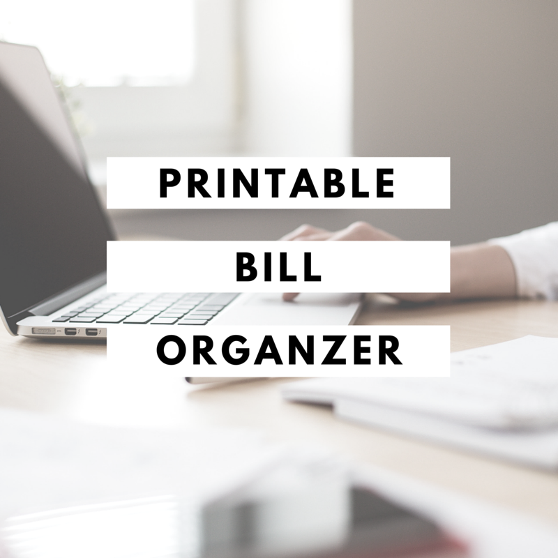 Printable bill organizer