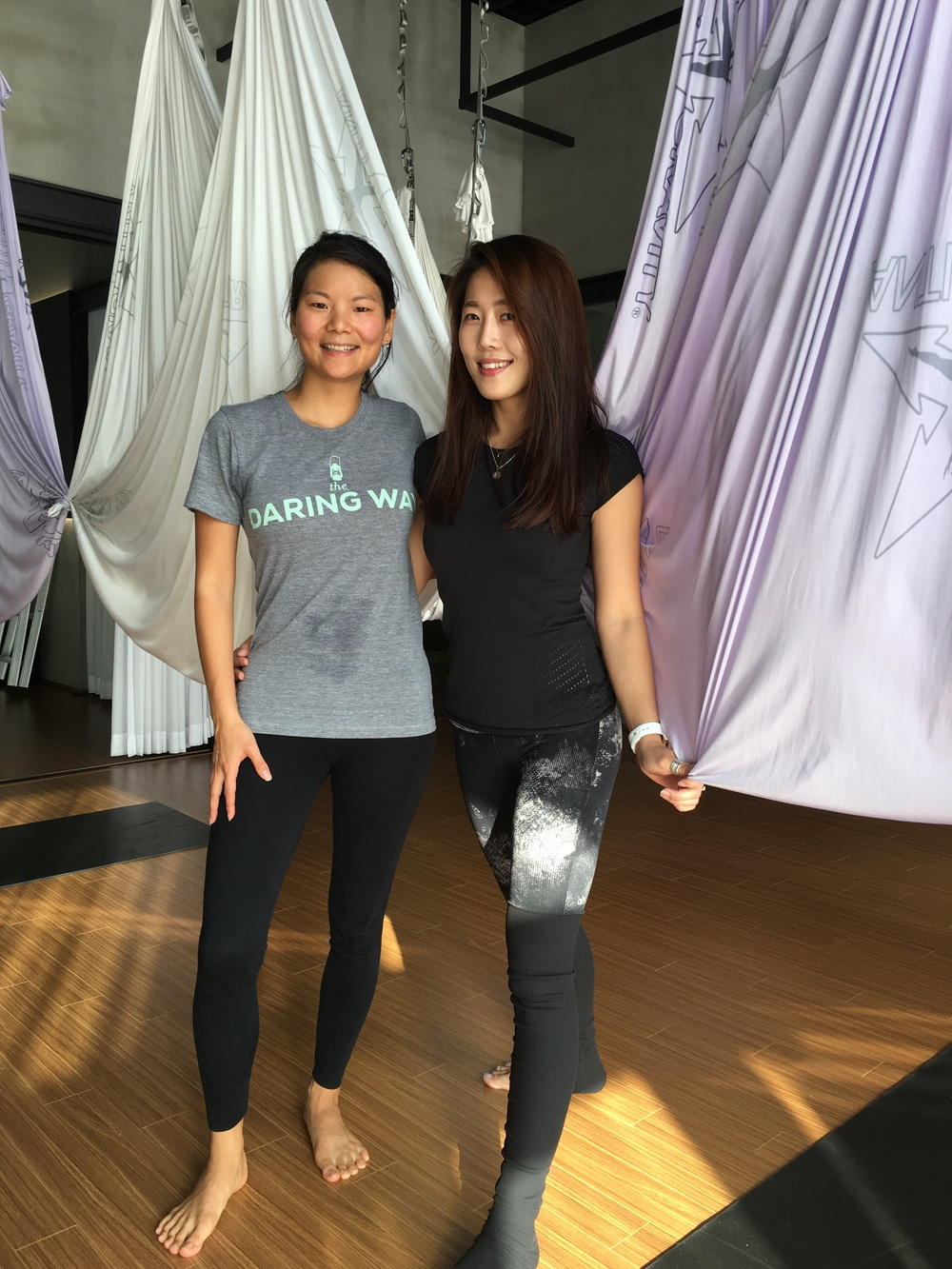 Ellany Lea with her AntiGravity® Instructor in Seoul, South Korea