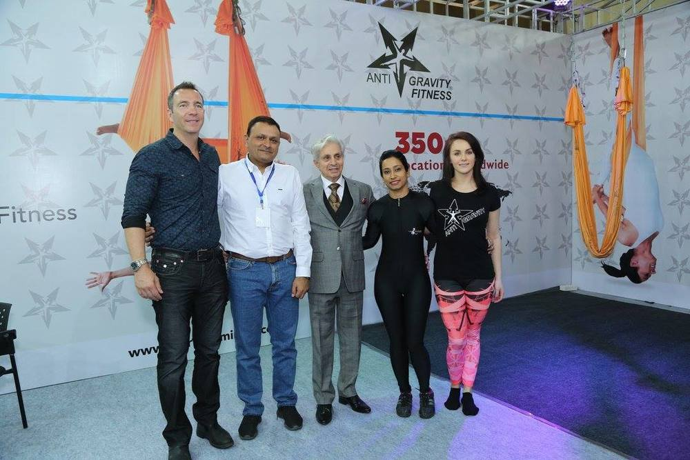 Pictured here L-R is Guy Beckerlegge our AntiGravity® Vice President of Sales, Mr. Jignesh-our Master Licensee in India, Mr.Madhukar Talvalka, Nital Raval our 2 Star Instructor Trainer in India, and Vanessa McCowan our Master Instructor.