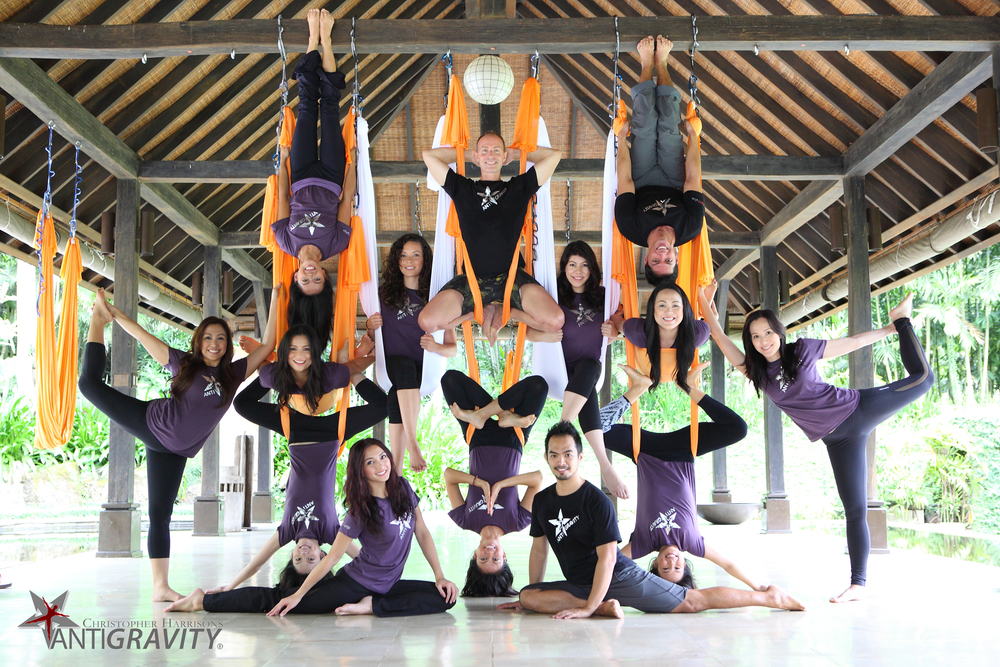 Christopher and the AntiGravity Family in Manila, Philippines at Beyond Yoga.  Click on the photo for a link to our Empowering Women Video.