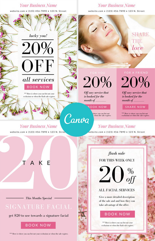 promo pack of 4 in pink canva email templates leawood studio