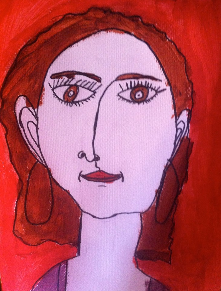 A portrait of Susan drawn by her 12 year old daughter.