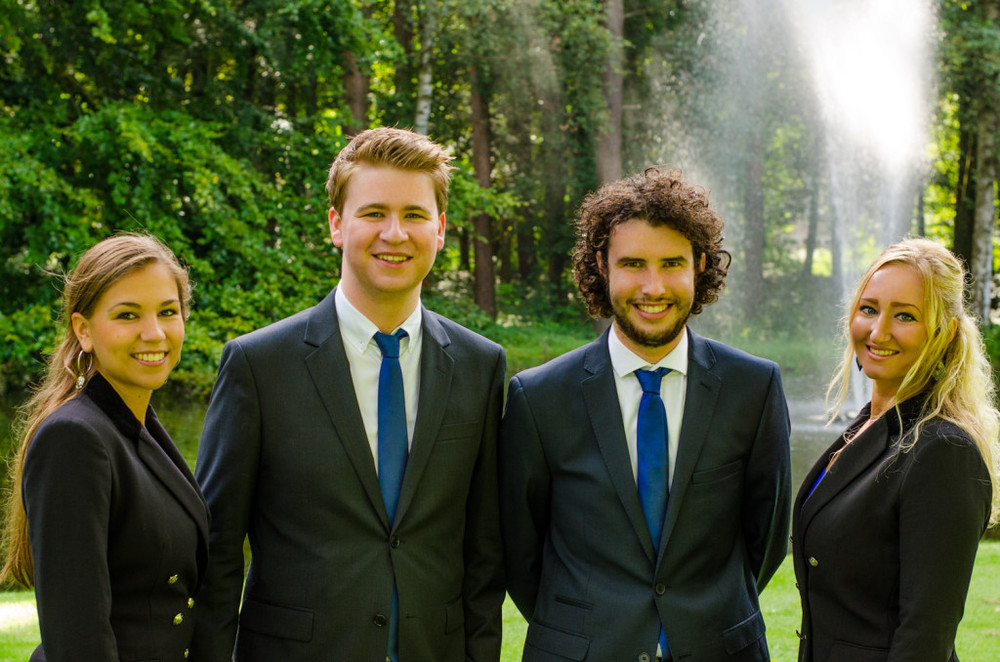 V.l.n.r.: Vera Frusch (Voorzitter), Jeroen Wienen (Vicevoorzitter), Jeroen Schipperen (Secretaris),Rachel Verstraeten (Dagelijks Bestuurder).