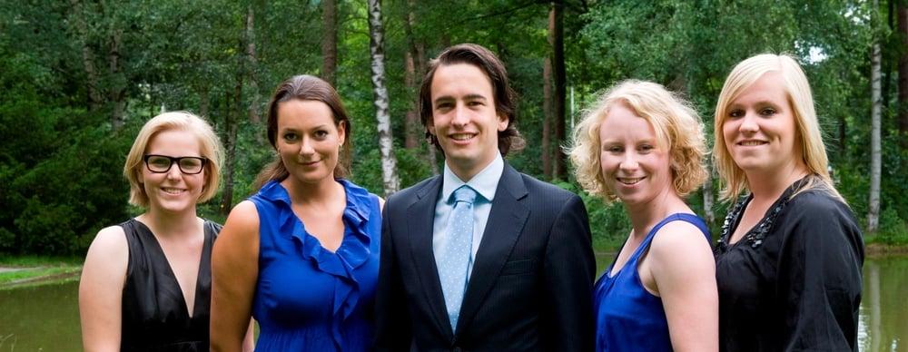 V.l.n.r.: Puck van Tilburg (Vicevoorzitter), Lotte Haens (Voorzitter), Vincent Schurink (Penningmeester), Renée van der Ploeg (Dagelijks Bestuurder), Dionne Janssens (Secretaris).