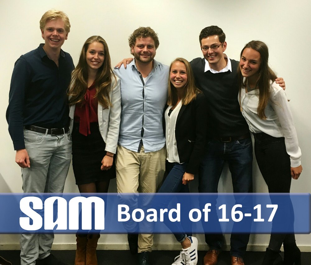 BAS VELDHUIZEN (SECRETARy), ANNELOES VAN DELFT (EXTERNal affairs, university council seat), MARNICK BOELEN (treasurer), YARA MULLER (president, UNIVERSITy council seat), JEROEN ABEN (VICE president, UNIVERSITy council seat), ROMY VAN LIMPT (executive board, university council seat)