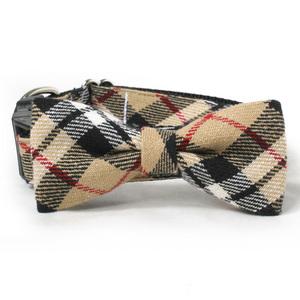 Tan Plaid Dog Bowtie.jpg