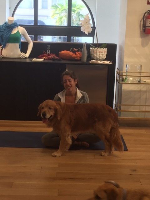Yoga Intructor Marjorie Ness with her adorable dog Dempsey.