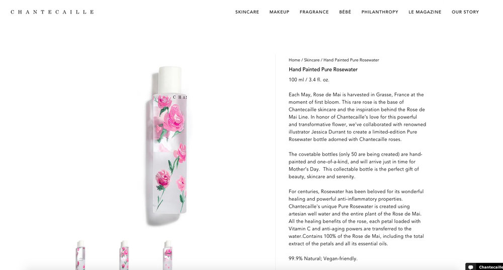 Limited Edition Custom Hand Painted Rose de Mai bottles for Chantecaille, as featured on Vogue.com