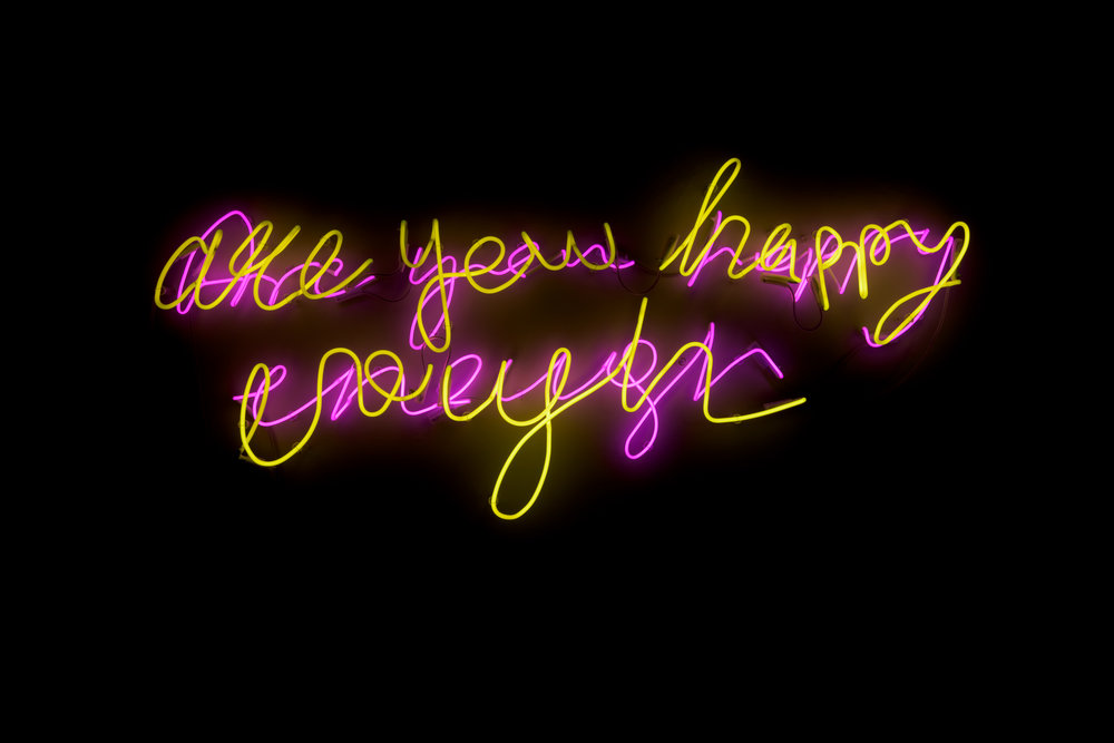 """:mentalklinik,  """" Are You Happy Enough,  """"  2015, Hand drawn neon, 63 x 63 in., courtesy of Louise Alexander Gallery"""