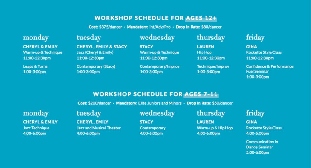 Summer workshop schedule