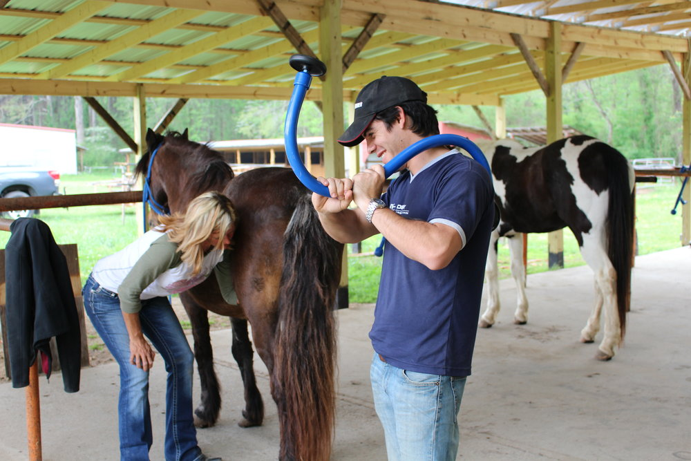 -D-stressor tools are for humans and horses demonstrated here by Santiago, Farrier from South America.