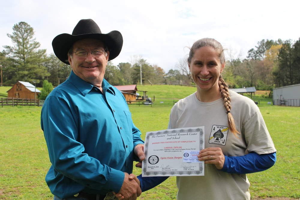 EFT graduate Larissa Zwolak of Tennessee with Dan Marcum, Instructor at the FNRC in Georgia.JPG