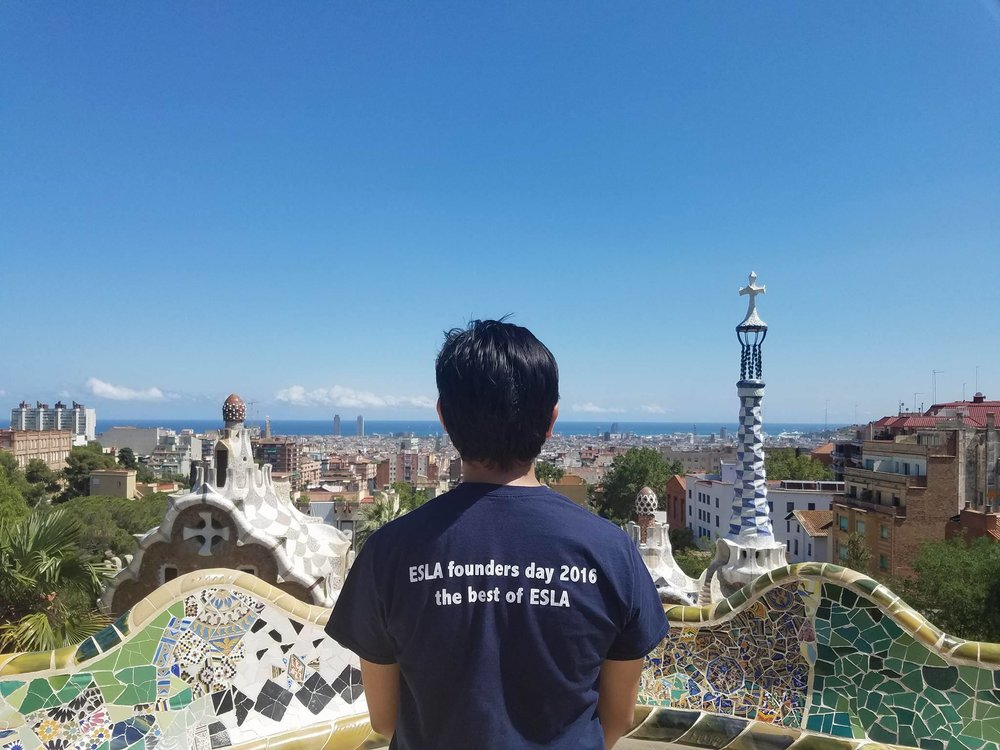 Steven represents ESLA as he looks out over Barcelona.