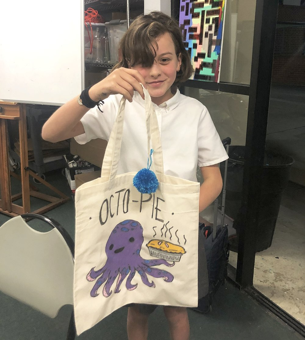 Nola B. created this magnificent work of art in Open Studio. Tote game  very  strong.