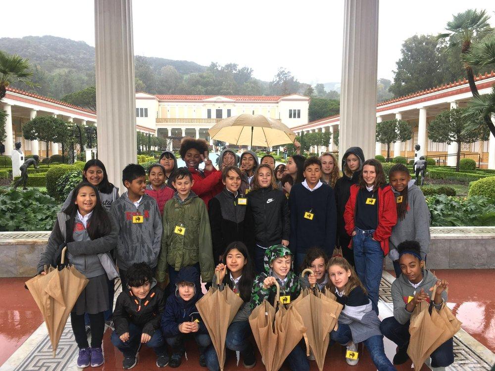 Sixth grade rainy day at the Getty Villa!