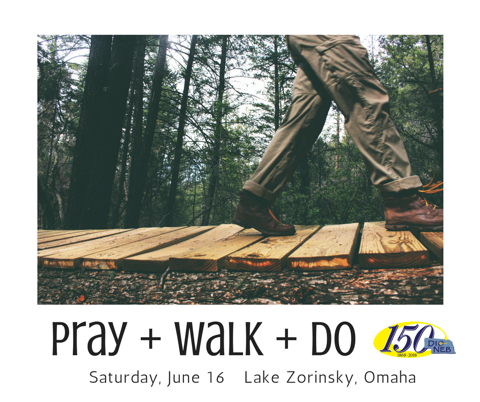 """Pray + Walk + Do (a 5K Prayer Walk) - Join us for our summer sesquicentennial event, Pray + Walk + Do on Saturday, June 16th.Bring the family and join us at beautiful Lake Zorinsky in Omaha for a 5K Run / Walk / Stroll on a well defined trail followed by a Prayer Experience and breakfast (featuring """"over the grill"""" burritos). There will be a bounce house for children and lots of space to play.Check in begins at 7:30 am with the Walk/Run beginning at 8:30 am. As you check-in, each person will be given a small stone to carry. A liturgy of welcoming the new day will be offered right before """"start"""" time and the stones will be blessed. All begin the journey (in whatever speed you wish) and are encouraged to find your prayer voice - it could be silence or it could be conversation. In the prayer we invite all to seek or hear what one thing God is calling you to do - to serve - to love.As you finish your walk each person will be invited to build a small altar from our stones in thanksgiving and in a renewed commitment to serve.There is no charge for participation, but we do ask that you register for the event at http://q150.episcopal-ne.org/pray-walk-do.html"""