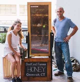 #urbanbeekeepers @squidkitty_ & @timcernigliajr flank one of our #observationhive at @highlinenyc #makeitsweet #queen #worker #drone #honey #pollen #propolis #wax #royaljelly #bees #hive #honeybees #beekeeper #nyc #meatpackingdistrict #highlinenyc