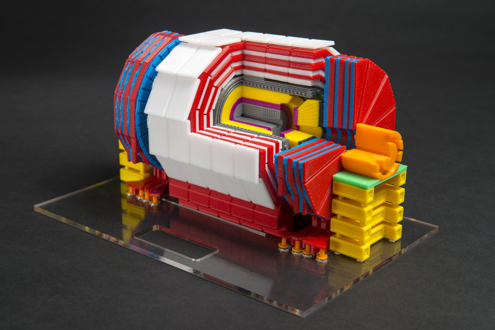 Completed scale model of the CMS detector.
