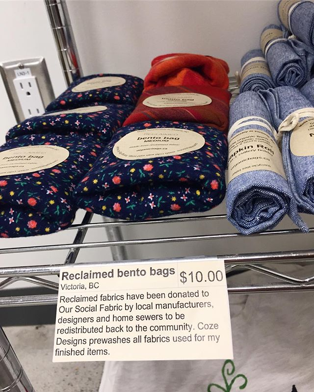 Have you noticed that our Sprouts Store items have tags telling you some details about our sustainable products? Also, these bento bags and cutlery rolls are local and artisan made!