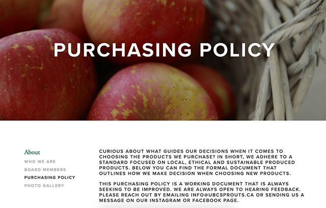 Curious about how we make our purchasing decisions? Our purchasing policy just got a makeover and now even features a handy dandy chart! Check it out and learn more about Sprouts at http://www.ubcsprouts.ca/purchasing-policy