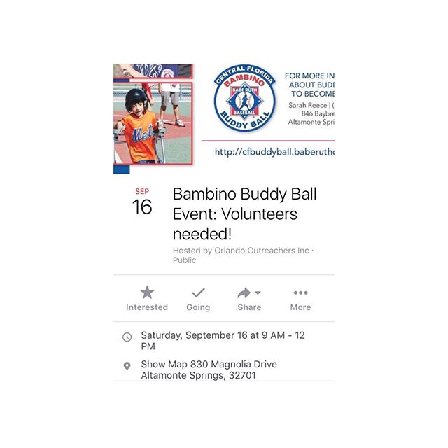 """Once again Orlando Outreachers is hosting this amazing event called """"Bambino Buddy Ball"""". In this event,  special needs children will be playing baseball and they will need """"buddies"""" to help them on the field (push their wheelchairs, walk with them, hit/catch the ball, etc.) We need 20 volunteers!  CAN WE COUNT ON YOU? There are no age or skill requirements and buddies are instructed prior to each game. Volunteer hours can be documented for volunteer service.  Can we count on you to help these wonderful children?  Don't forget to register on Eventbrite if you plan on attending this amazing and loving event.  Please tag your friends and family to encourage them to join us!  p.s. It is a good idea to bring some water, sunscreen, and a hat as it can get hot on the field."""