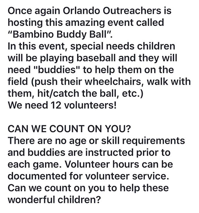 Register for our Buddy Ball event on March 3rd! Link is in the bio 😊 #charity #buddyball #givingback #kids #fun #happiness #weareorlandooutreachers