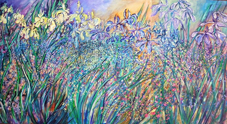 "WATER GARDEN  48""x 90"" (3x30""- triptych)  acrylic on canvas $5,500.00"