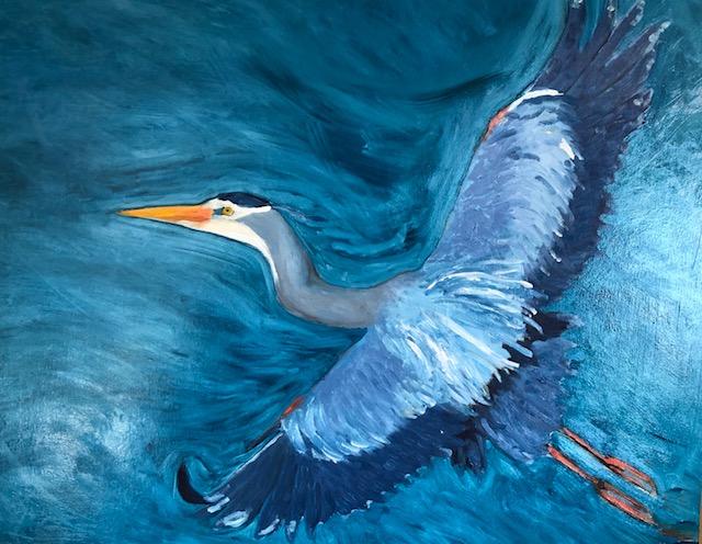 """Flight: Blue Heron oil on board, 20"""" x 24"""" Celia Meade"""