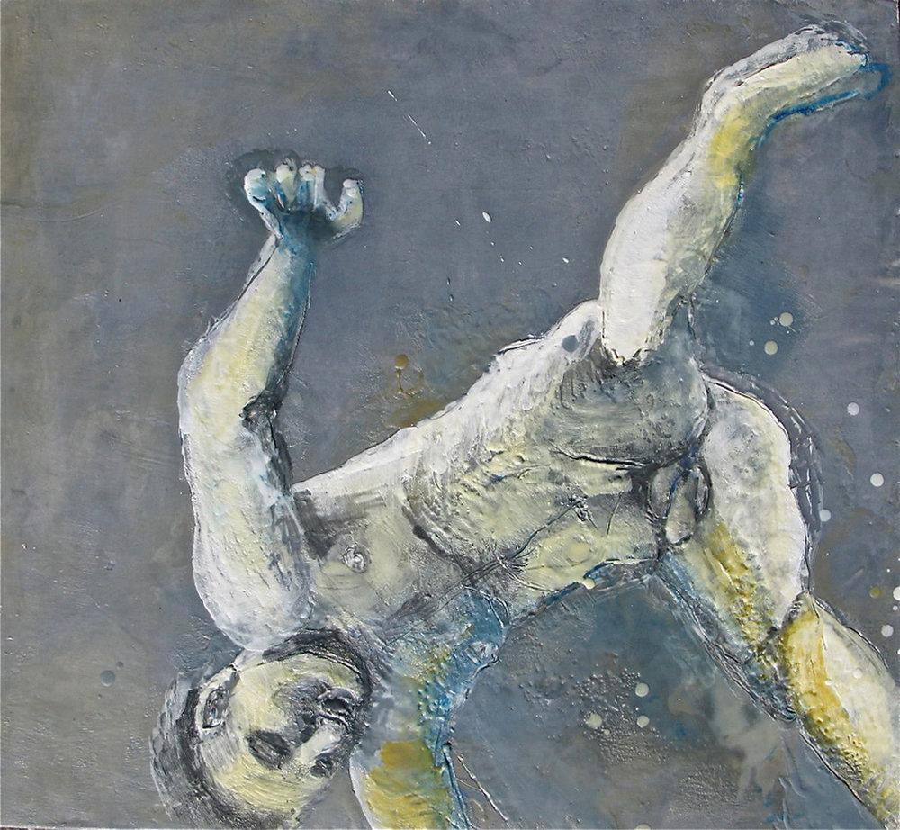 Falling Man- encaustic Rosalie Matchett