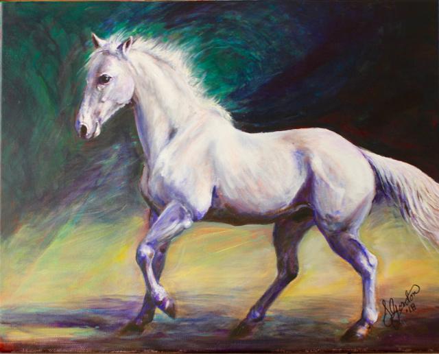 """Silver Decides to Play Hi-Ho Silver"" (20X16, acrylic on canvas) Susan Gordon"