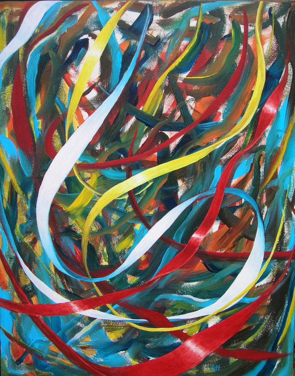 """Susan Haigh Silk Road – Left Hand Dance acrylic on canvas 28"""" x 22"""" $650"""
