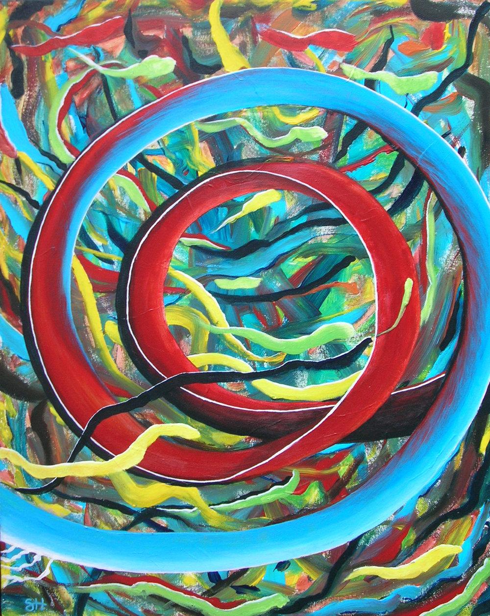 """Susan Haigh Silk Road – Right Hand Dance acrylic on canvas 28"""" x 22"""" $650"""