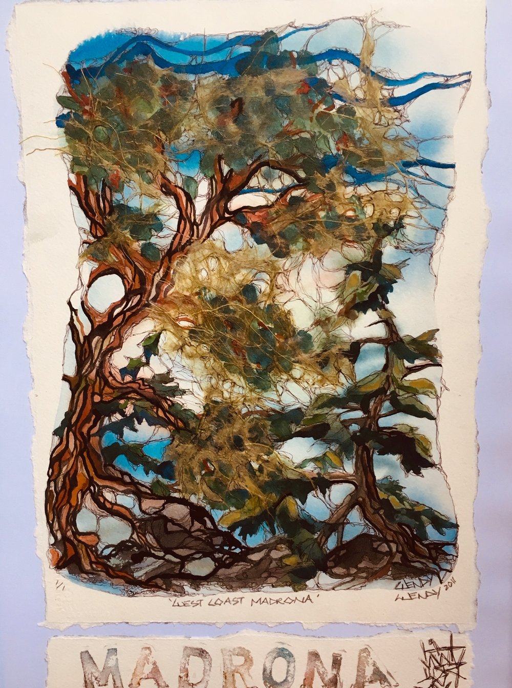 "WENDY TAYLOR- ""Madrona"" mixed media $400"