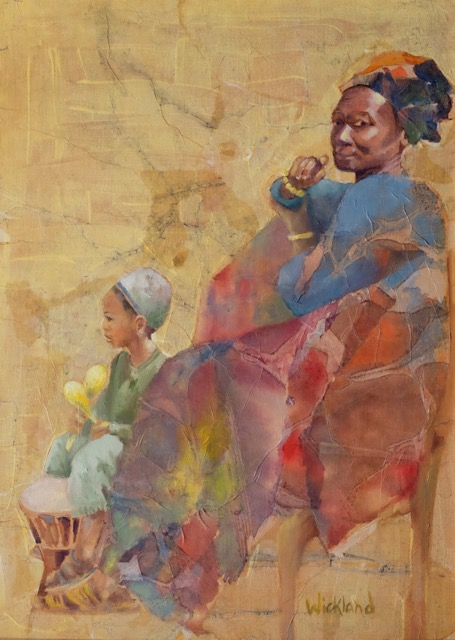 """WENDY WICKLAND """"Boy with a Drum"""" mixed media & oil, $395 (framed)"""