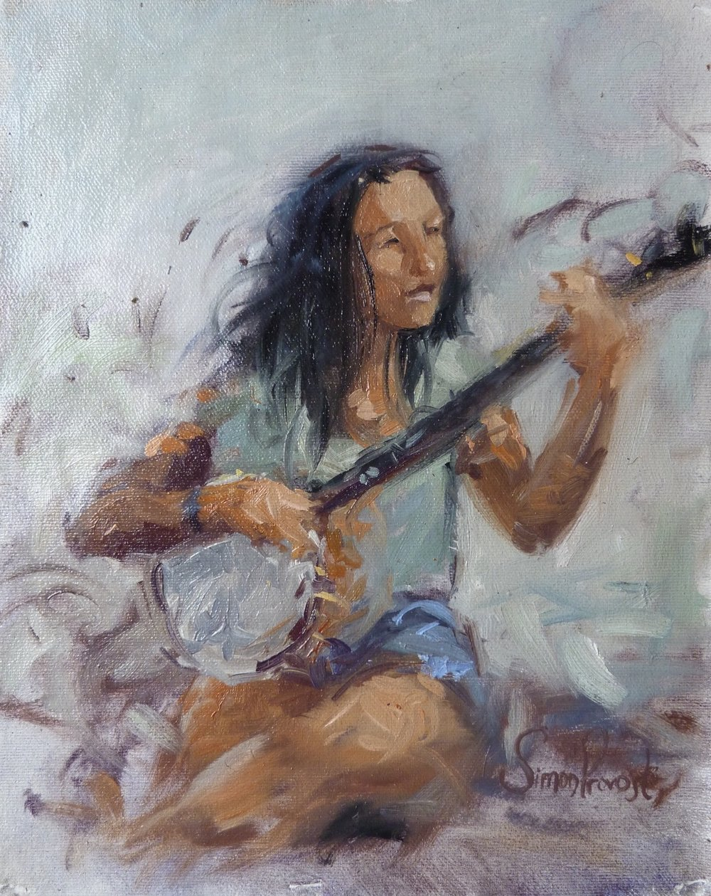 "SIMON PROVOST ""The Banjo Player"", oil, 9""x11"", $250"